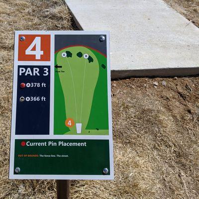 Hole #4's tee sign