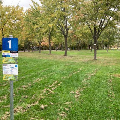 Départ #1 , panier à gauche après la rangée d'arbres
