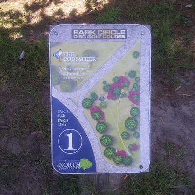 Hole 1 tee sign (silver tees)