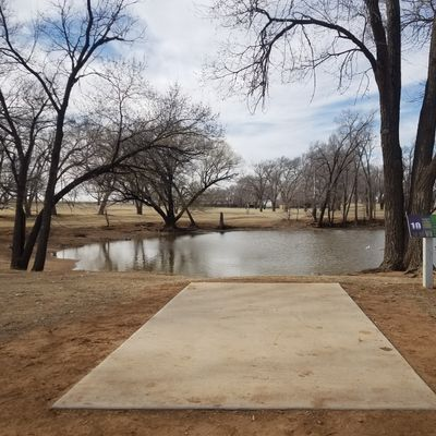 Hole 10 set in short position, 175', right over the water.