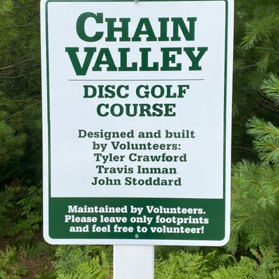 Chain Valley Disc Golf Course sign.
