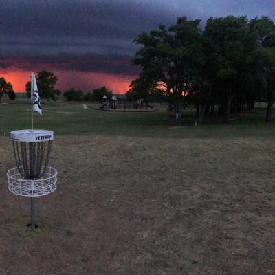 Hole #18 at Ned Houk DGC with a stormy sunset ❤️