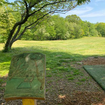 Hole 1, hand carved Tee Pad Signage
